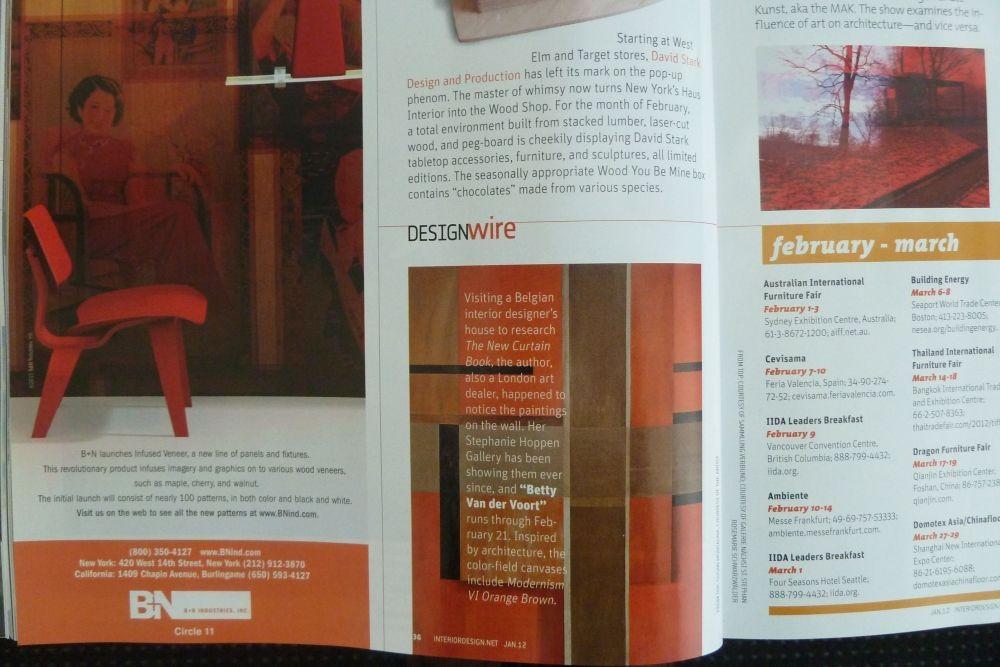 In us interior design magazine betty van der voort for Newspaper articles on interior design